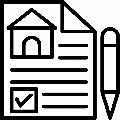 estate contract, house contract, mortgage, property agreement, property papers icon