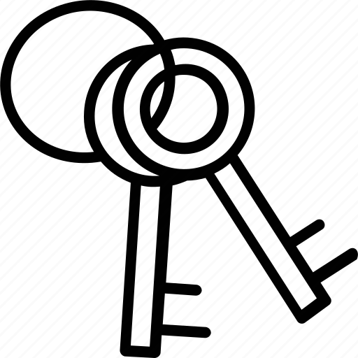 door keys, house keys, keys, retro keys, two keys icon
