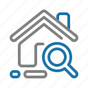 house, property, real estate, search icon