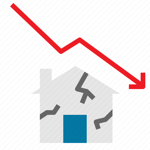 Real, stats, business, estate, house, fall, line icon - Download