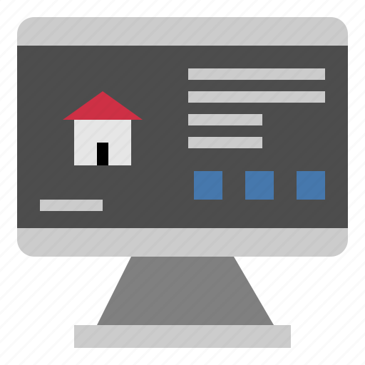 Monitor, house, screen, computer, home, technology icon
