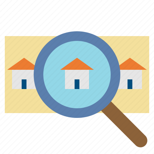 Buildings, glass, home, house, loupe, magnifying, search icon - Download on Iconfinder