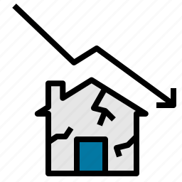 business, estate, fall, house, line, real, stats icon