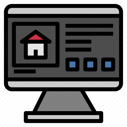 Computer, home, house, monitor, screen, technology icon - Download on Iconfinder