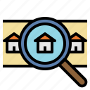 buildings, glass, home, house, loupe, magnifying, search icon