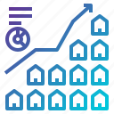 business, estate, graph, house, line, real, stats icon