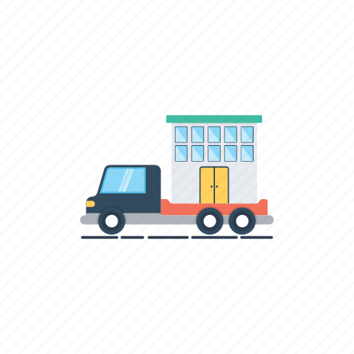 home relocation, home shifting, house mover, mover estate, mover truck icon