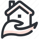 giving, hand, home, house, house on hand icon