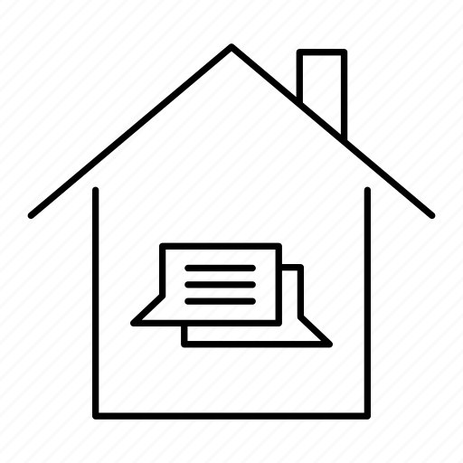 building, chat, comment, home, house, message icon