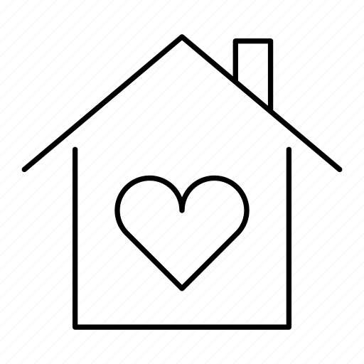building, heart, home, house, love icon