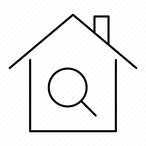 architecture, building, home, house, property, real estate, search icon