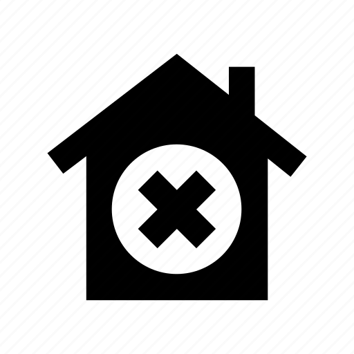 building, cancel house, cancel sign, cross sign, home icon