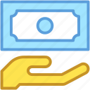 banknote, hand gesture, money, paper money, payment icon