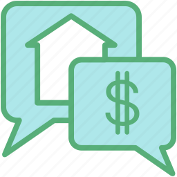 chat bubble, dollar, house, property, property talk icon