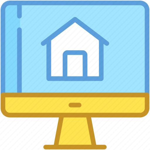 home, monitor, online mortgage, online property, online real estate icon