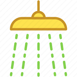 bath, body care, shower, shower head, water drops icon