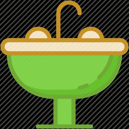 basin, pedestal sink, sink, wash basin, washbowl icon
