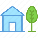 garden, home, house, lawn, tree icon