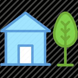 garden, home, house, lawn, tree icon