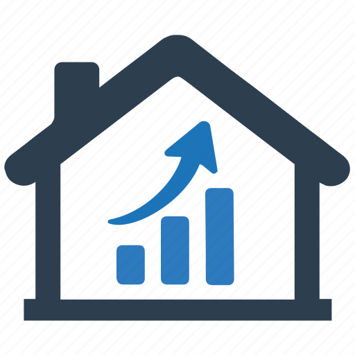 analytics, graph, growth, home, real estate, real estate analytics icon