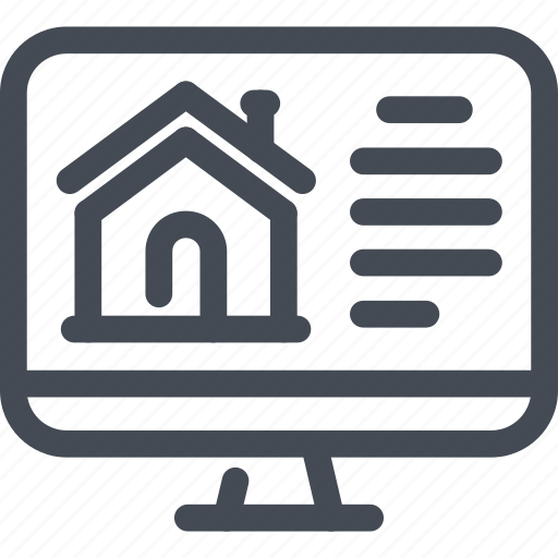 building, computer, estate, house, online, real, website icon