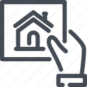 building, estate, hand, hold, house, offer, real icon