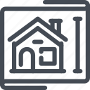 blueprint, building, estate, house, real, size icon