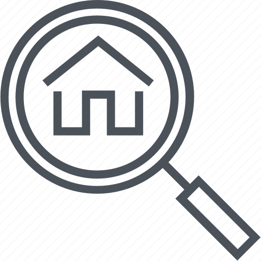 find, house, magnifier, real estate icon