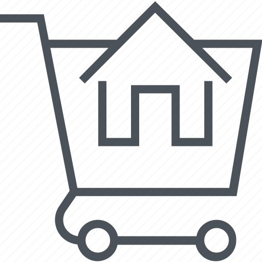 buy, house, real estate, sell, shopping cart icon