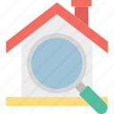 house search, magnifying glass, property search, real estate icon
