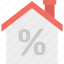 percentage sign, property tax home, property value, real estate icon