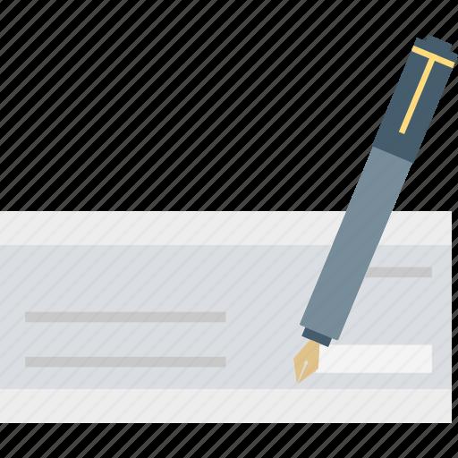 cheque signing, receipt, signature, voucher icon