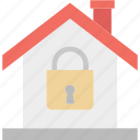 house insurance, house security, lock, locked house icon