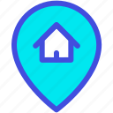 gps, home, house, location, pin icon