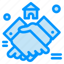 agreement, estate, handshake, house, real icon