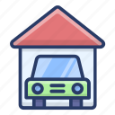 car garage, car parking, car porch, garage, parking lot icon