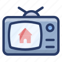broadcasting, home ad, live telecast, television, tv ad icon