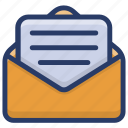 document, envelope, mail, message, notice, open letter icon
