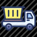 debris truck, dump truck, dustcart, garbage removal, garbage truck, trash truck, waste truck icon