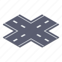 crossroads, crossway road, road infrastructure, road intersection, traffic road icon