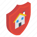home safety, property protection, property shield, protective home, real estate protection icon
