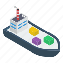 cruise ship, delivery cruise ship, freight container, logistics, water cargo icon