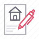 building, document, house, realestate, sign icon