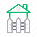boundary, building, fence, home, house icon