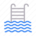 pool, realestate, stair, swimming, water icon