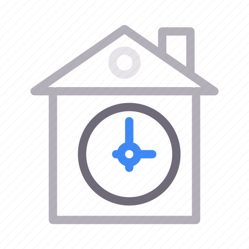 building, clock, home, house, time icon