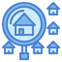 estate, glass, house, magnifying, real, search icon