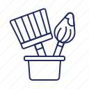 brushes, paint, repairs icon