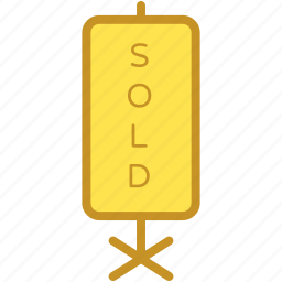 property sold, signage, sold, sold advertisement, sold signboard icon