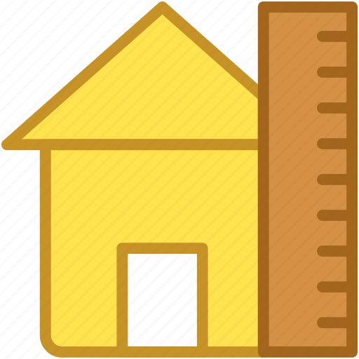 architecture project, construction, house, house measurement, ruler icon